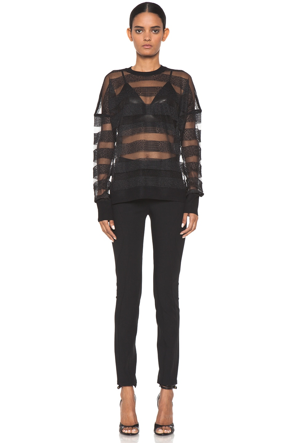 Image 5 of Alexander Wang Snakeskin Long Sleeve Pullover in Onyx