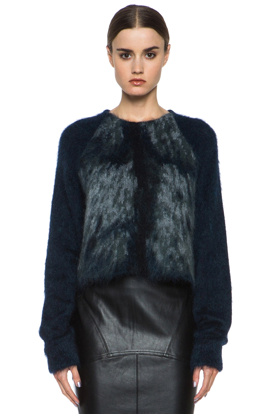 Image 1 of Alexander Wang Fur Spine Mohair-Blend Pullover in Navy