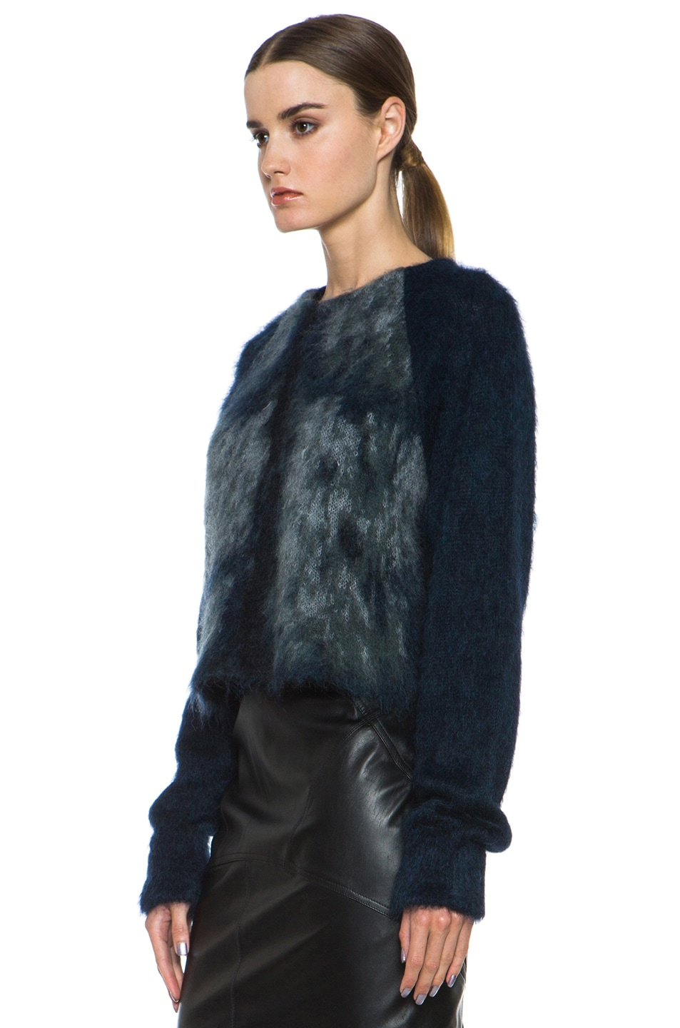 Image 2 of Alexander Wang Fur Spine Mohair-Blend Pullover in Navy
