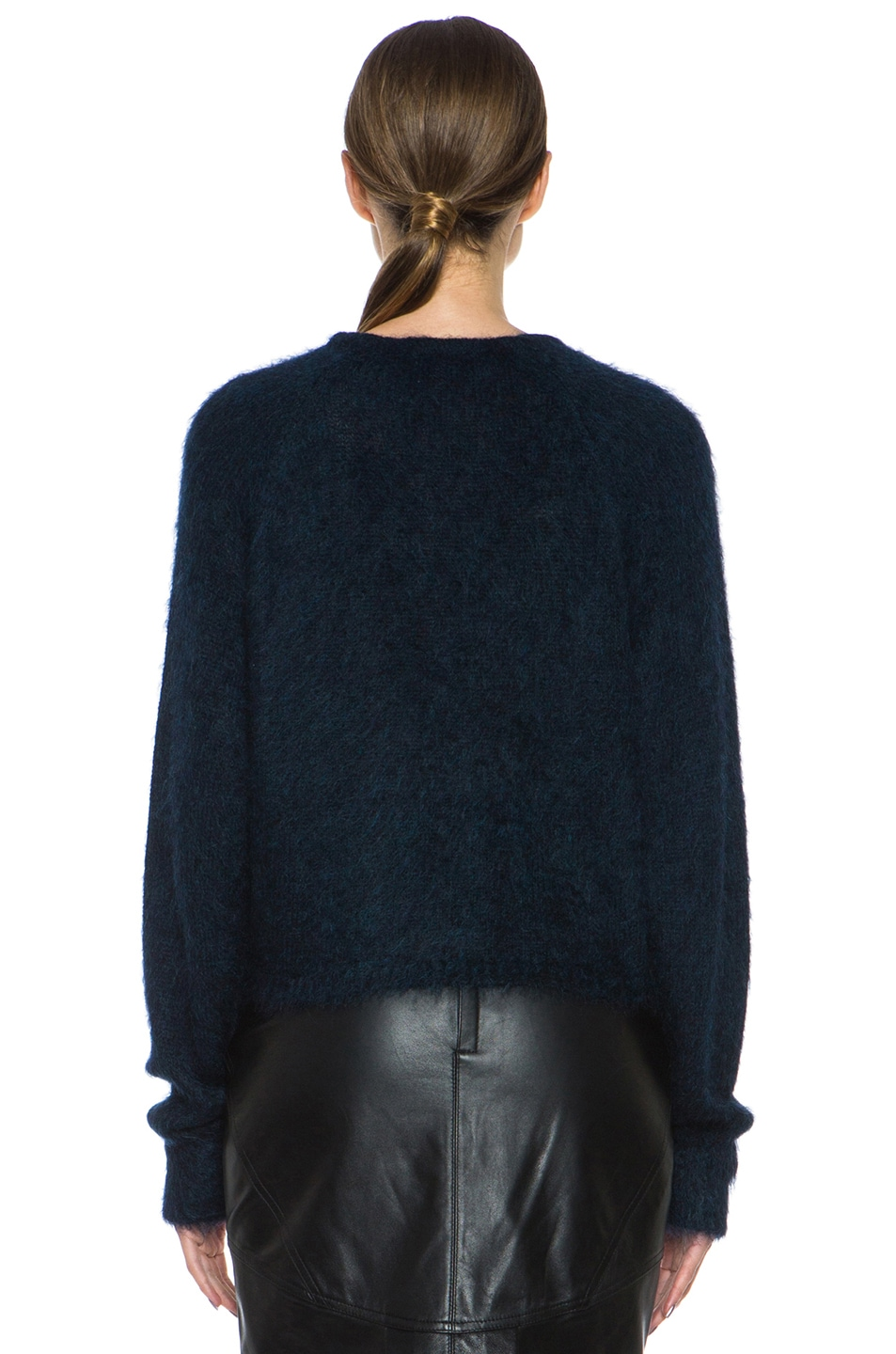 Image 4 of Alexander Wang Fur Spine Mohair-Blend Pullover in Navy