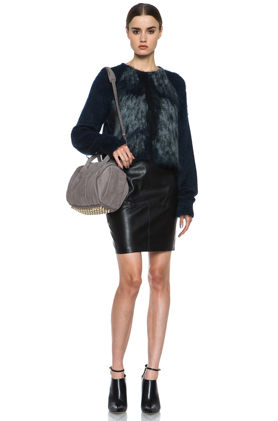 Image 5 of Alexander Wang Fur Spine Mohair-Blend Pullover in Navy