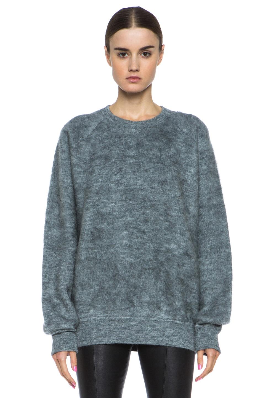 Image 1 of Alexander Wang Brushed Wool-Blend Sweatshirt in Pumice