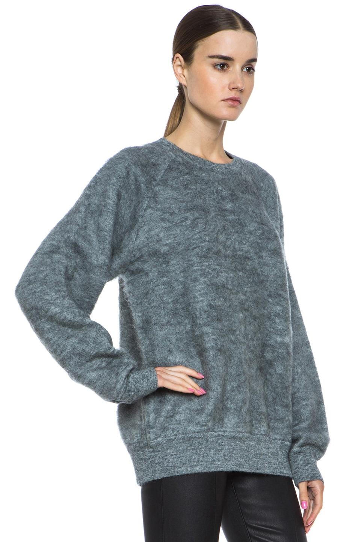 Image 3 of Alexander Wang Brushed Wool-Blend Sweatshirt in Pumice