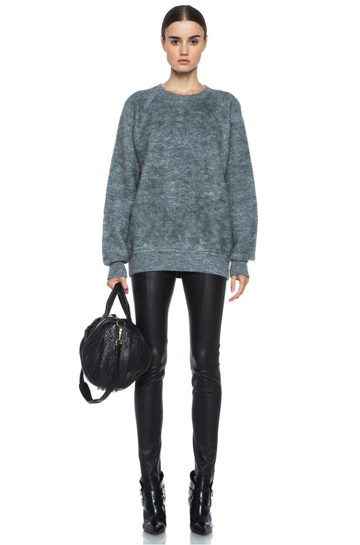 Image 5 of Alexander Wang Brushed Wool-Blend Sweatshirt in Pumice