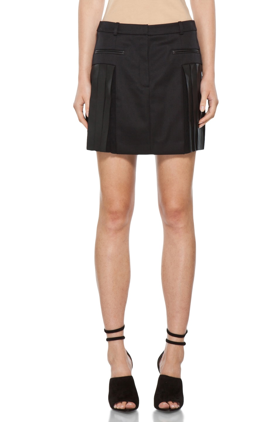 Image 1 of Alexander Wang Pleated Mini Skirt in Black