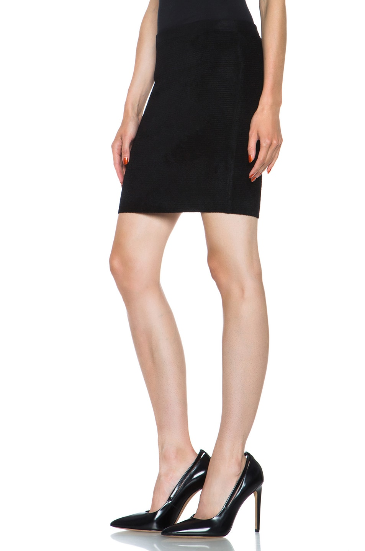 Image 2 of Alexander Wang Fur Stripe Viscose-Blend Pencil Skirt in Asphalt