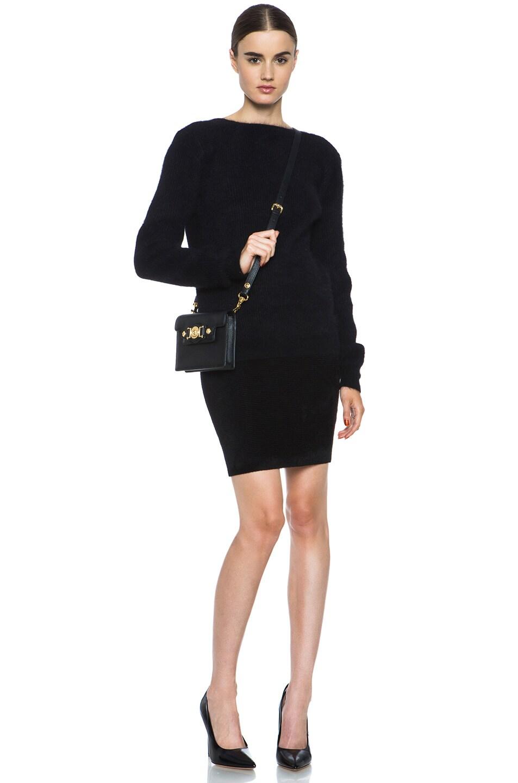 Image 5 of Alexander Wang Fur Stripe Viscose-Blend Pencil Skirt in Asphalt