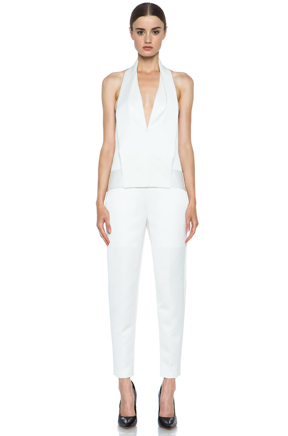 Image 1 of Alexander Wang Draped Halter Poly Tuxedo Romper in Down