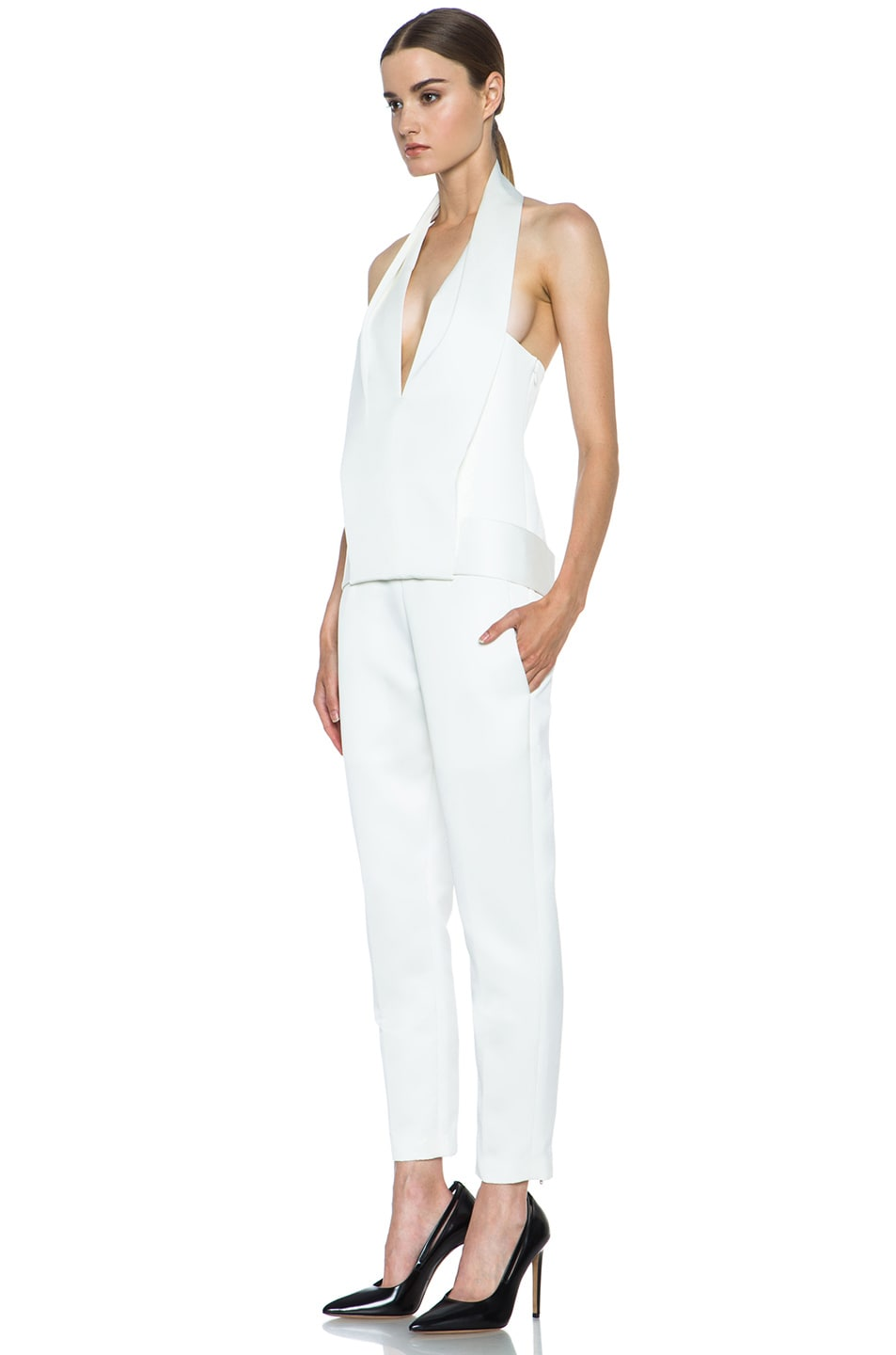 Image 2 of Alexander Wang Draped Halter Poly Tuxedo Romper in Down