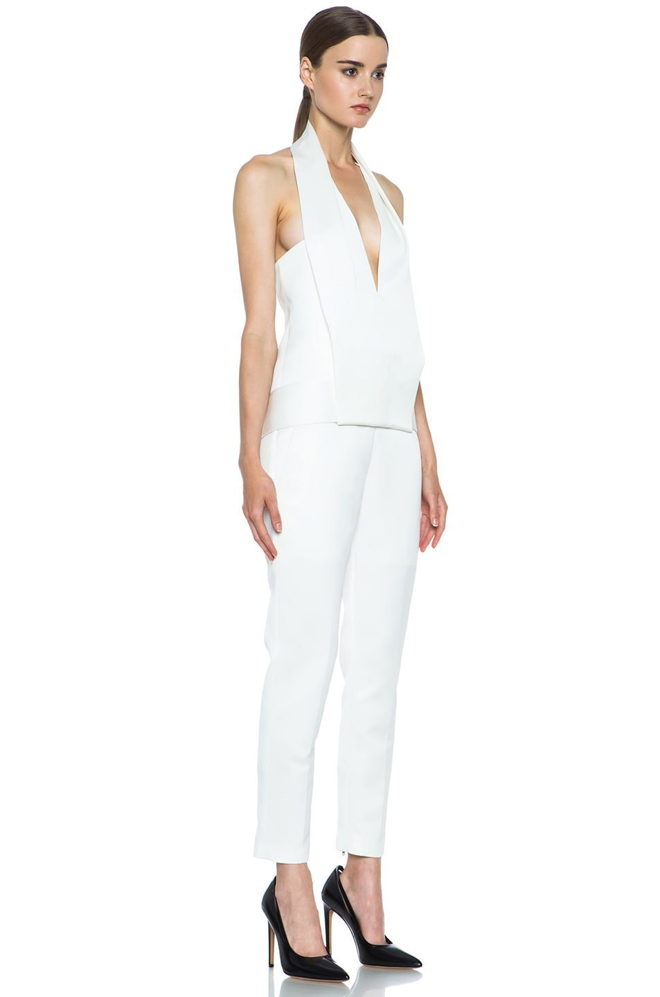 Image 3 of Alexander Wang Draped Halter Poly Tuxedo Romper in Down