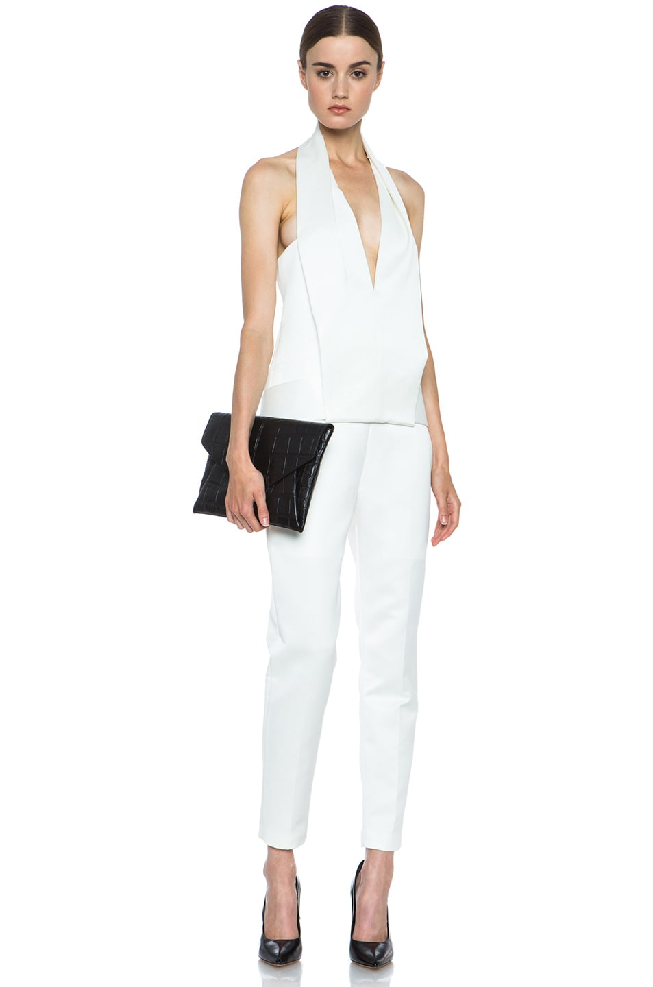 Image 5 of Alexander Wang Draped Halter Poly Tuxedo Romper in Down