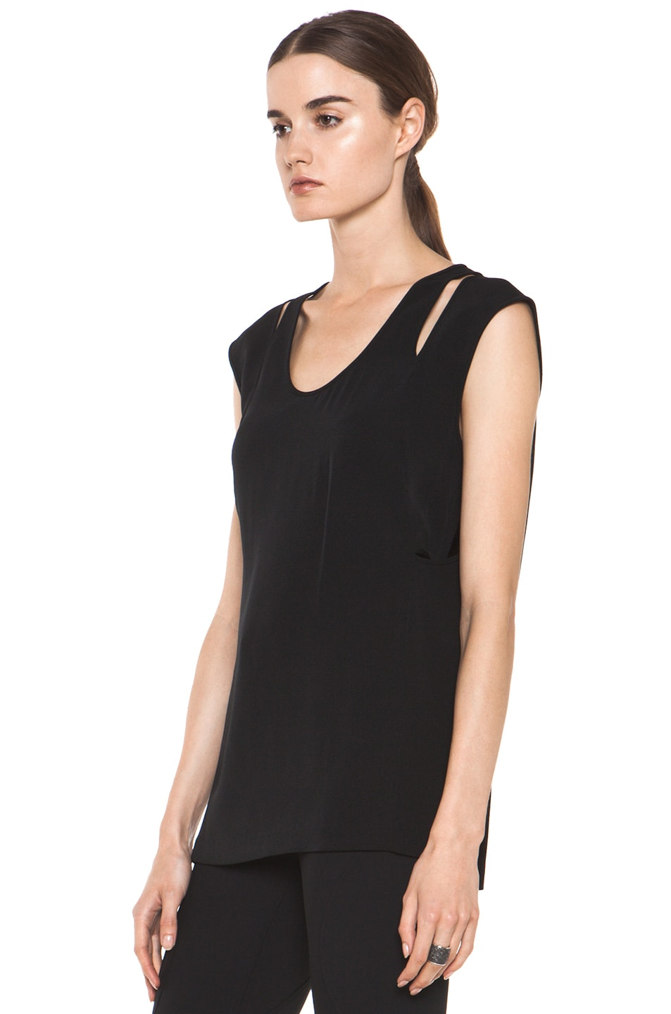 Image 2 of Alexander Wang Double Back Tank in Black