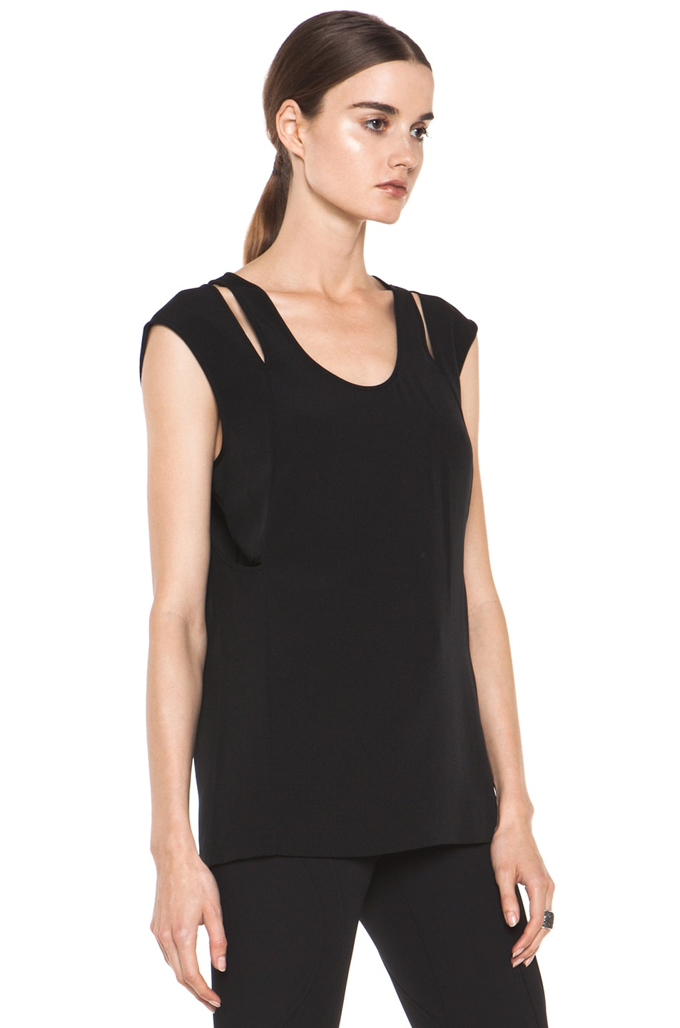 Image 3 of Alexander Wang Double Back Tank in Black