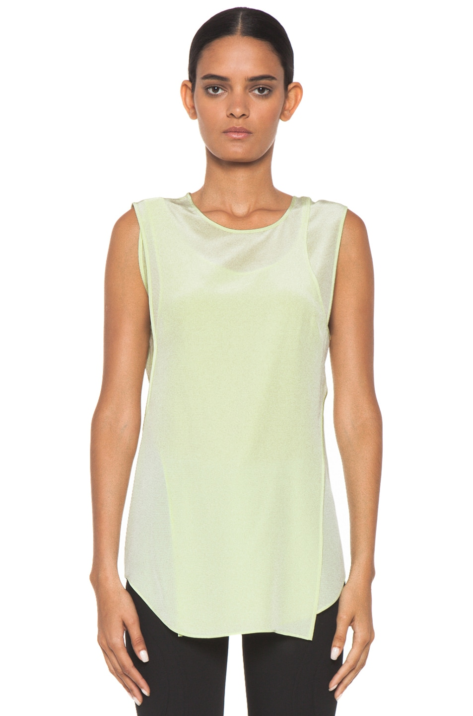 Image 1 of Alexander Wang Overlapping Silk Tank in Highlighter
