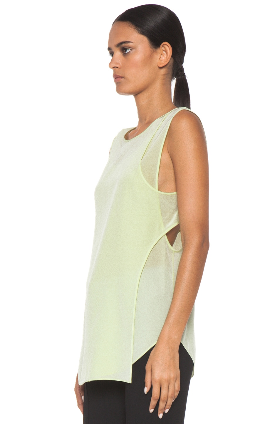 Image 2 of Alexander Wang Overlapping Silk Tank in Highlighter