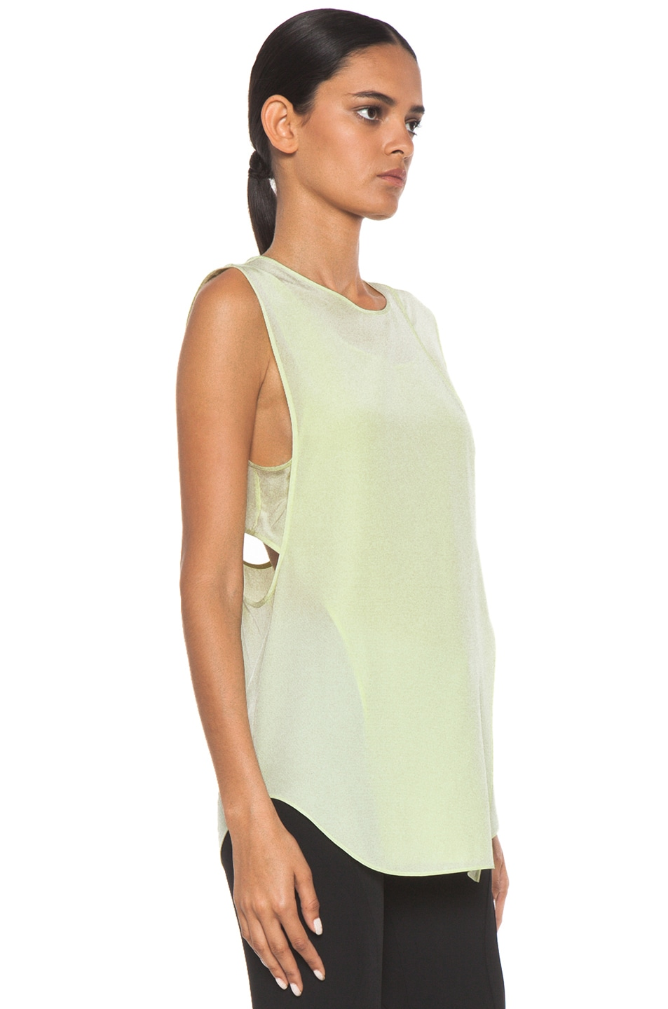 Image 3 of Alexander Wang Overlapping Silk Tank in Highlighter
