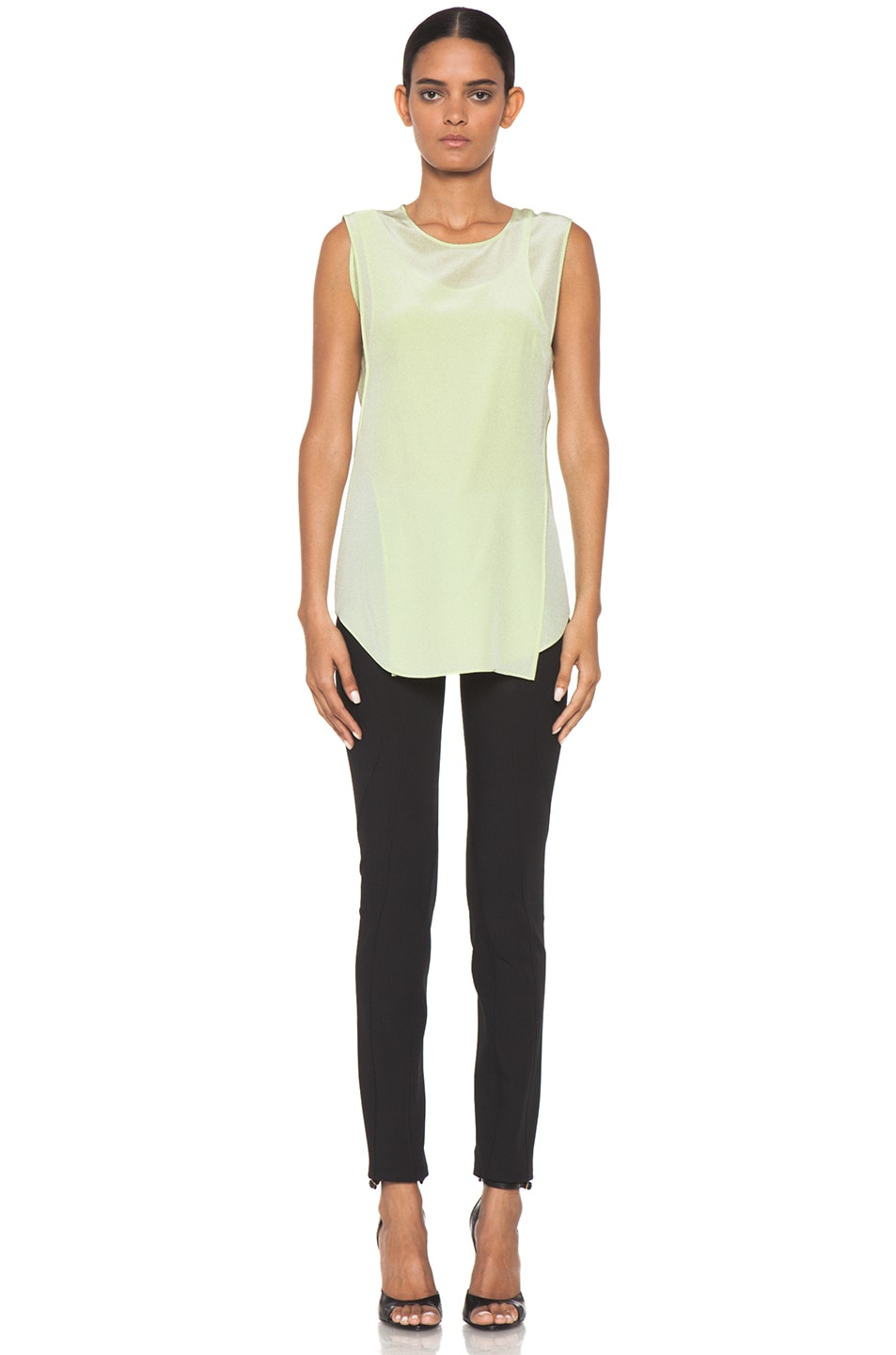 Image 5 of Alexander Wang Overlapping Silk Tank in Highlighter