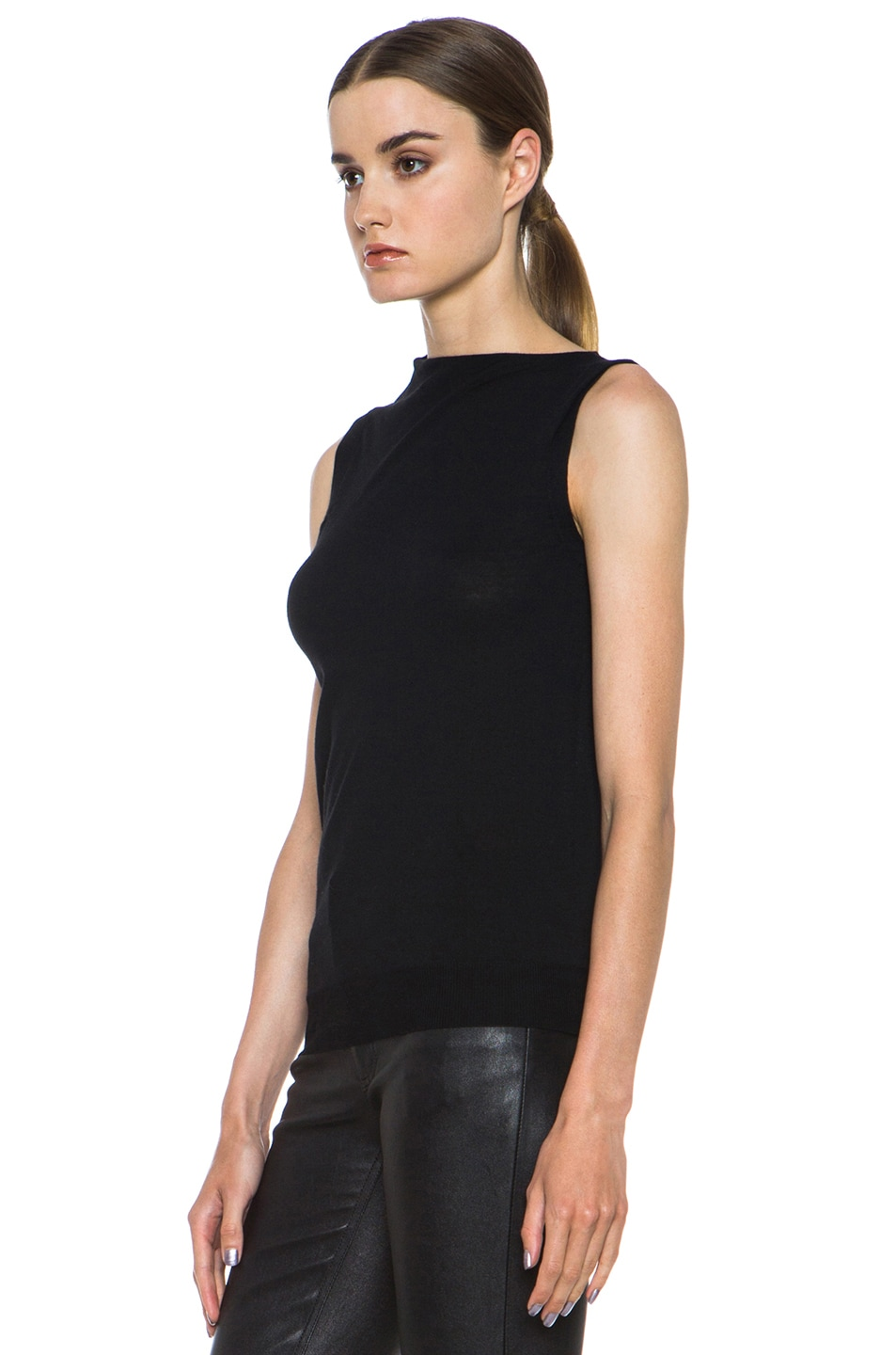 Image 2 of Alexander Wang Draped Merino Wool Top in Asphalt
