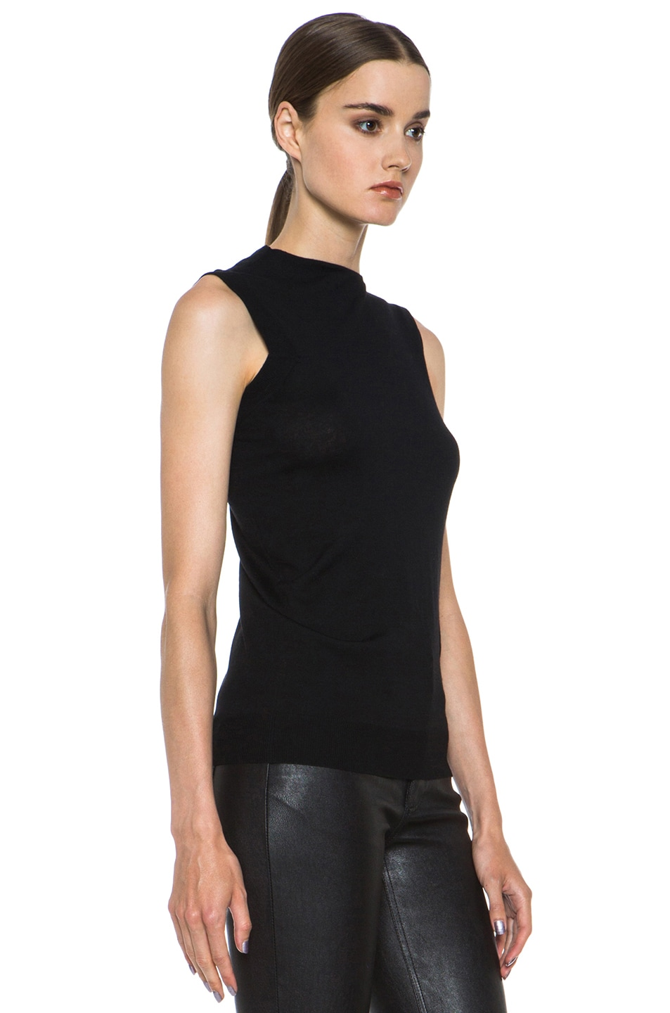 Image 3 of Alexander Wang Draped Merino Wool Top in Asphalt
