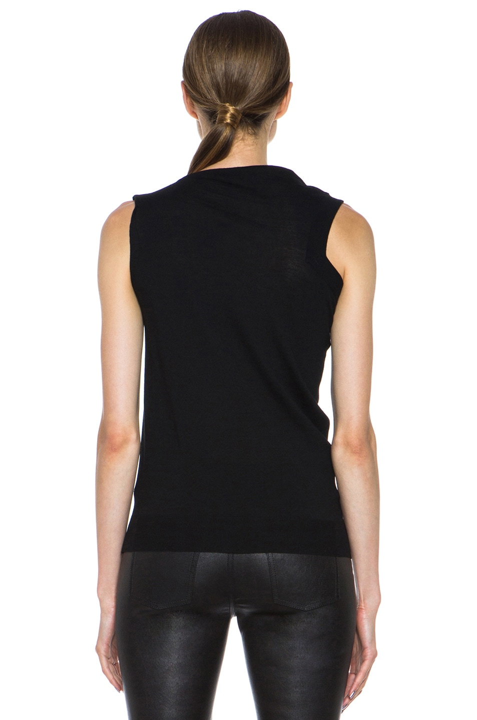 Image 4 of Alexander Wang Draped Merino Wool Top in Asphalt
