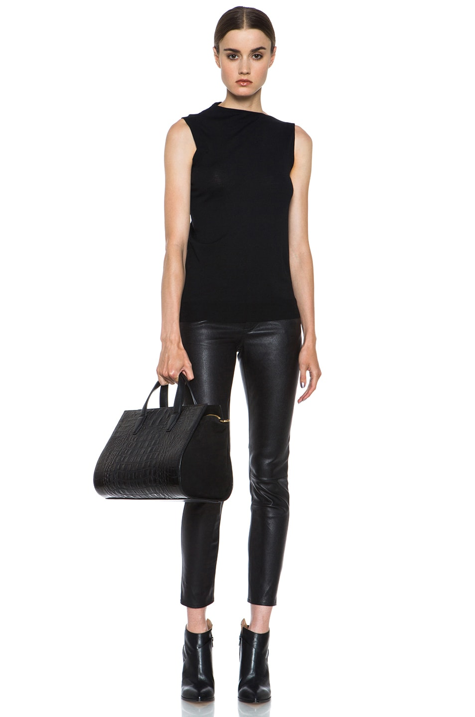 Image 5 of Alexander Wang Draped Merino Wool Top in Asphalt