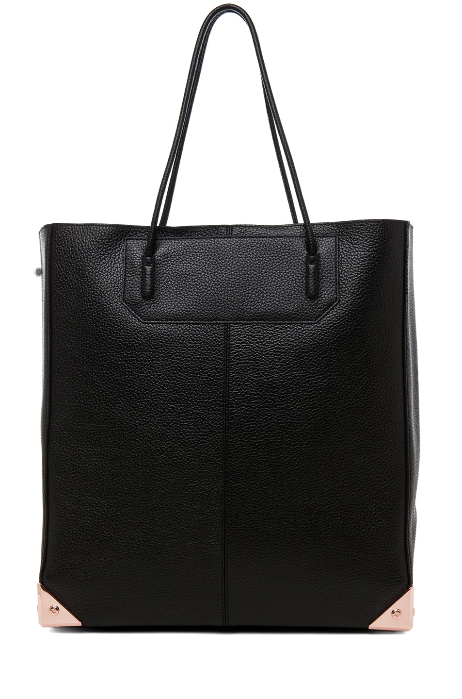 Image 1 of Alexander Wang Prisma Pebble Grain Tote with Rose Gold in Black