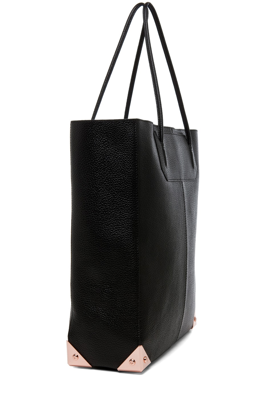 Image 3 of Alexander Wang Prisma Pebble Grain Tote with Rose Gold in Black