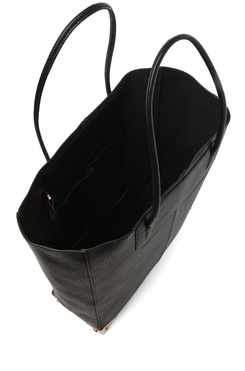 Image 4 of Alexander Wang Prisma Pebble Grain Tote with Rose Gold in Black