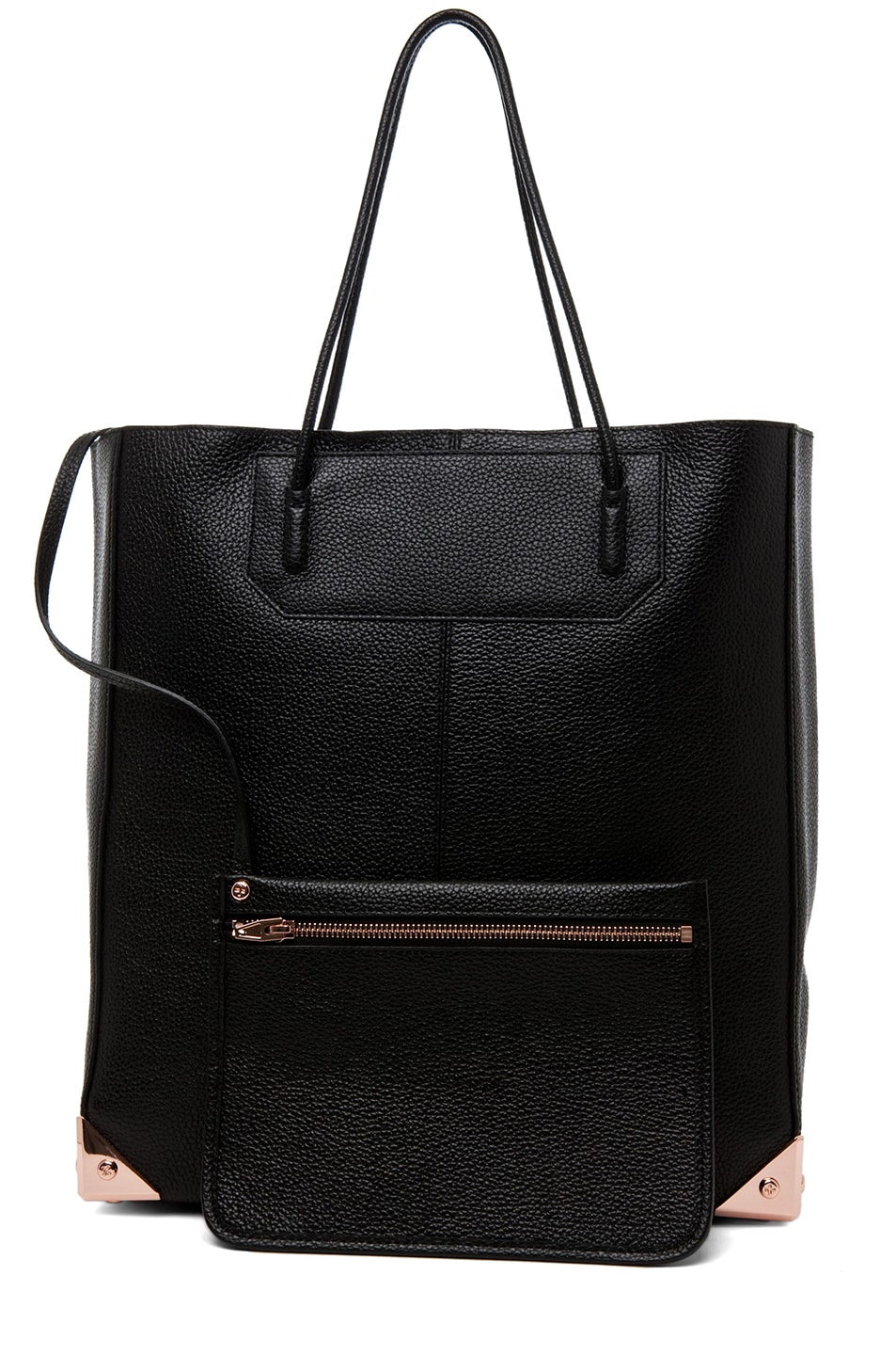 Image 6 of Alexander Wang Prisma Pebble Grain Tote with Rose Gold in Black