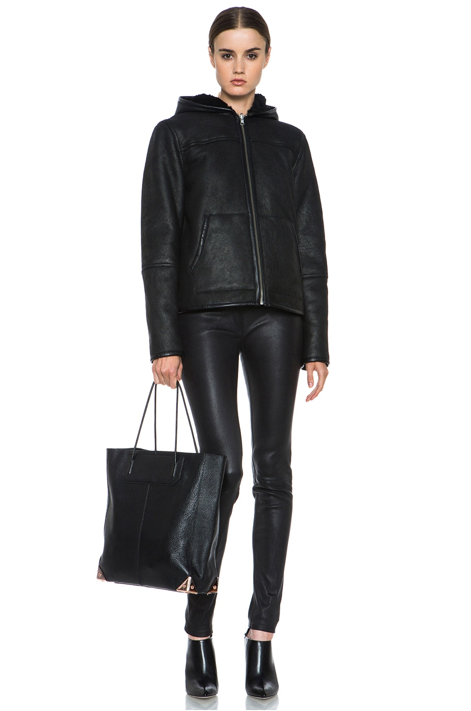 Image 7 of Alexander Wang Prisma Pebble Grain Tote with Rose Gold in Black