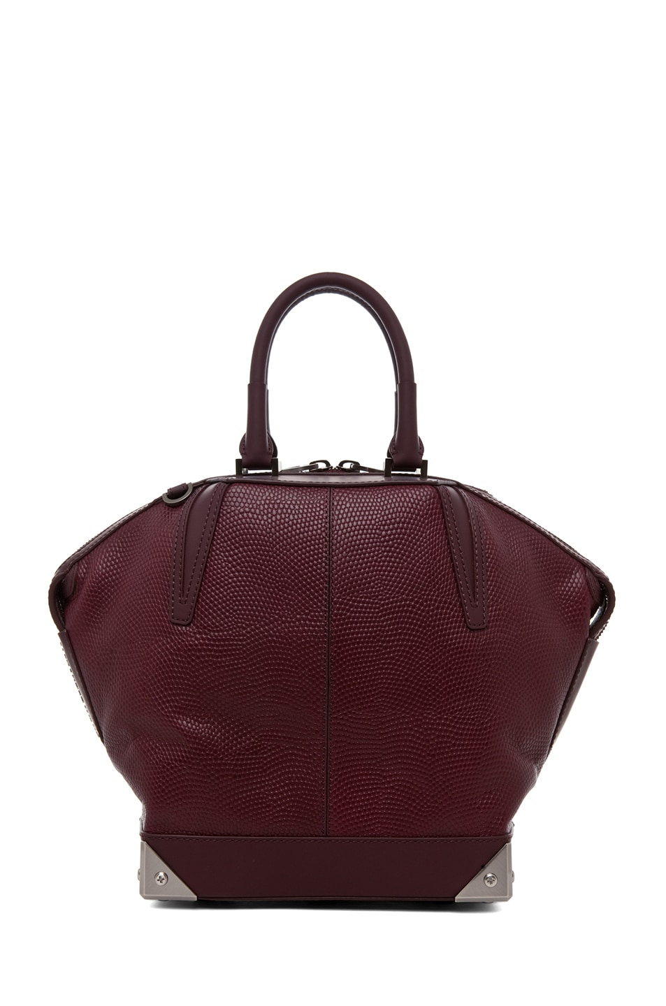 Image 2 of Alexander Wang Small Emile Lizard Print Tote in Oxblood