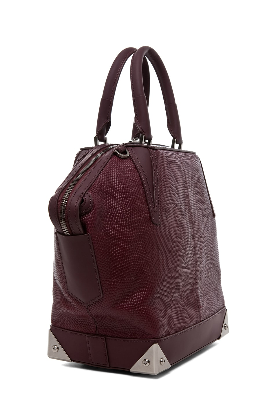 Image 3 of Alexander Wang Small Emile Lizard Print Tote in Oxblood