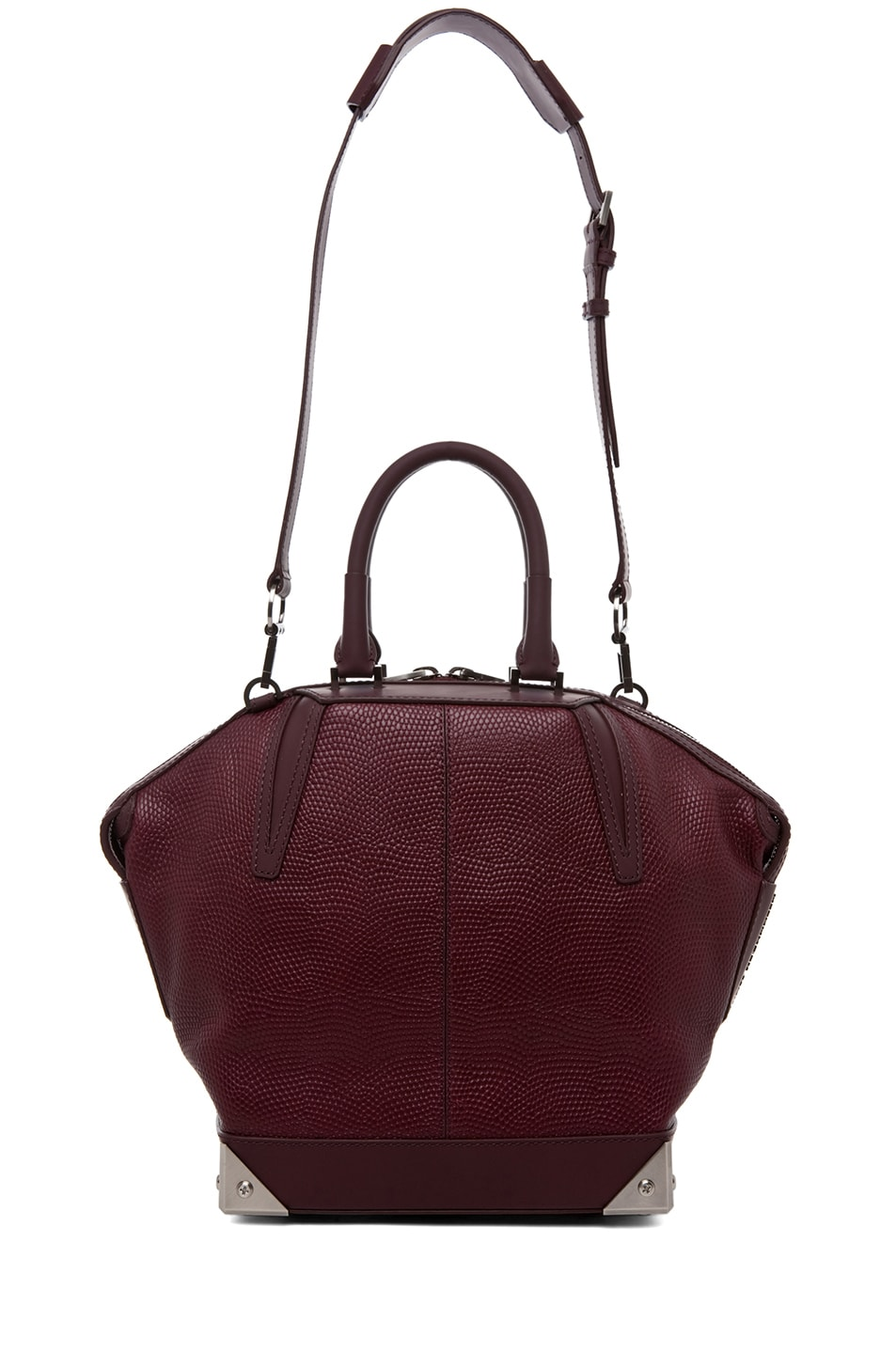 Image 5 of Alexander Wang Small Emile Lizard Print Tote in Oxblood