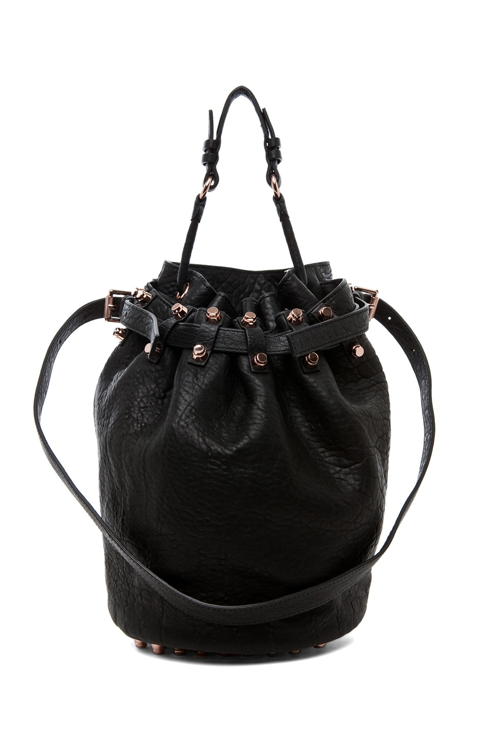 Image 1 of Alexander Wang Diego Bucket Bag with Rose Gold in Black