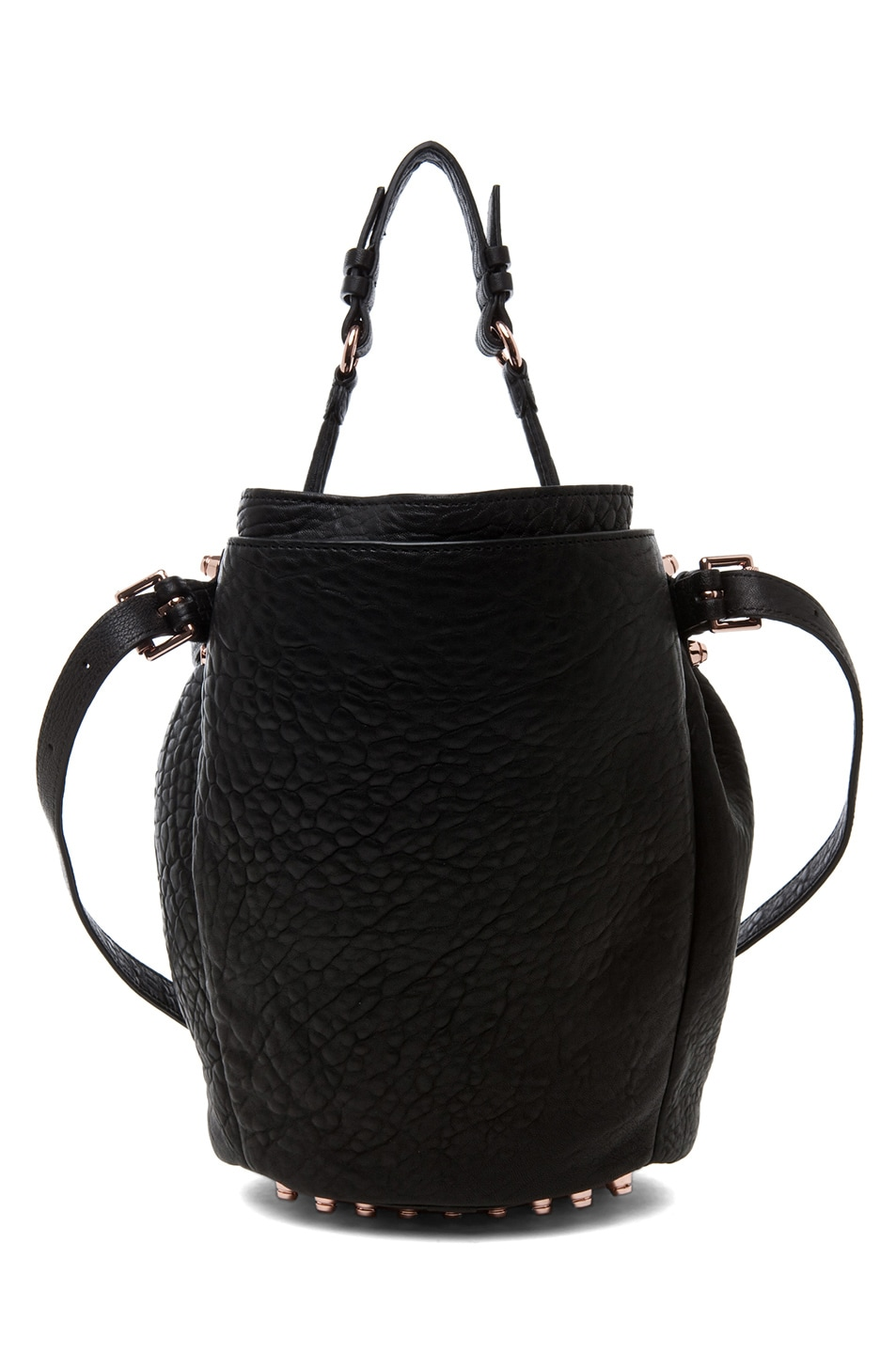 Image 2 of Alexander Wang Diego Bucket Bag with Rose Gold in Black