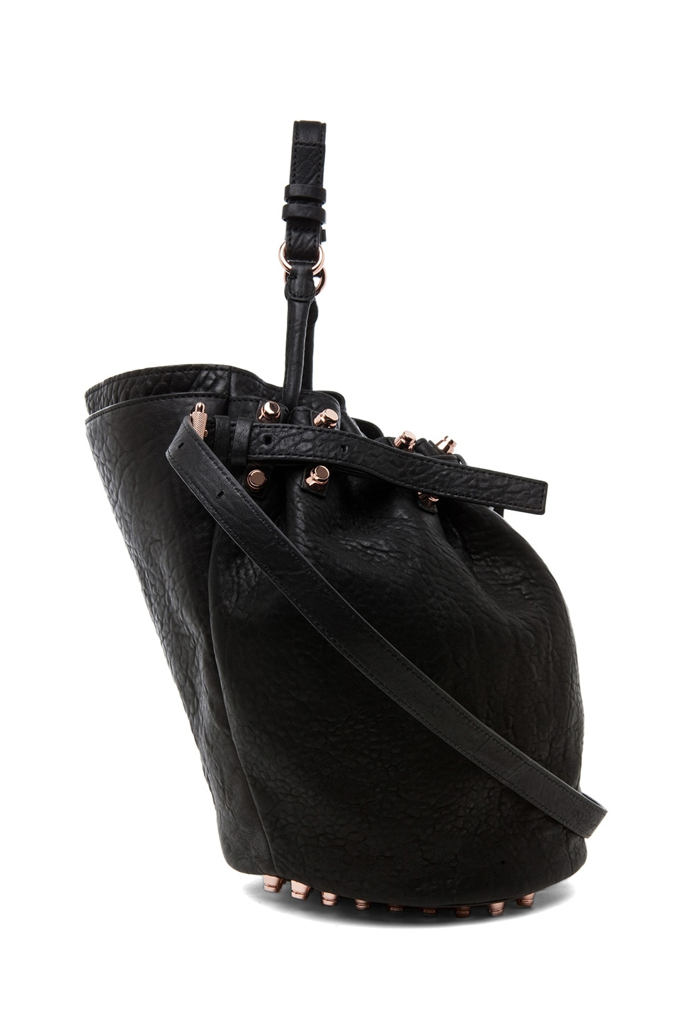 Image 3 of Alexander Wang Diego Bucket Bag with Rose Gold in Black