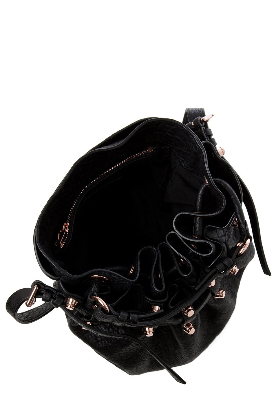 Image 5 of Alexander Wang Diego Bucket Bag with Rose Gold in Black