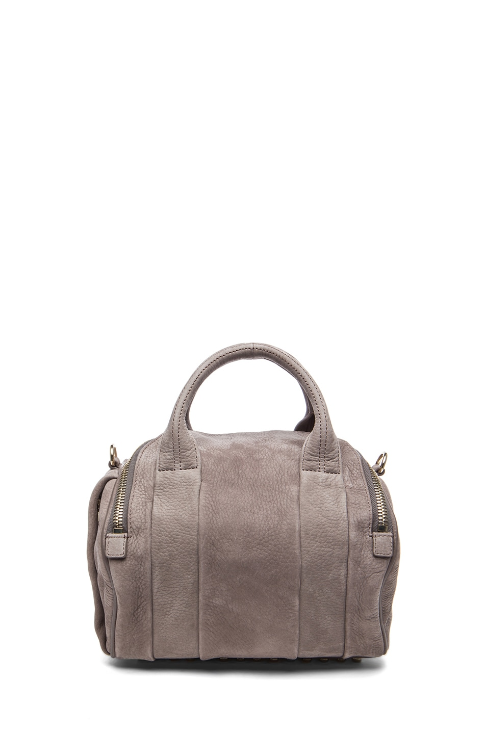 Image 2 of Alexander Wang Rockie Nubuck Bag with Pale Gold in Elephant