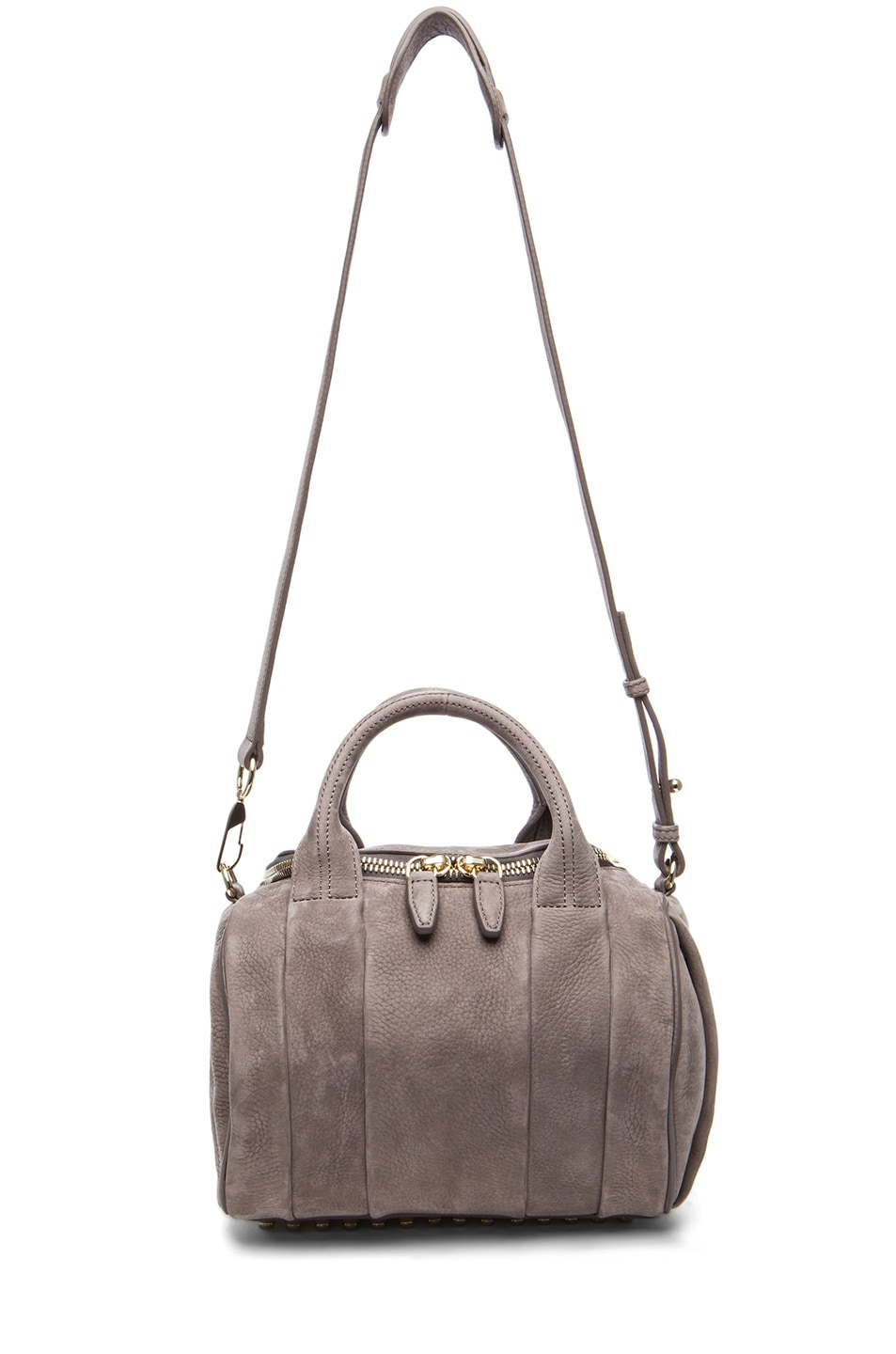 Image 5 of Alexander Wang Rockie Nubuck Bag with Pale Gold in Elephant