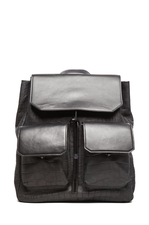 Image 1 of Alexander Wang Flap Pocket Backpack Embossed in Ink Croc