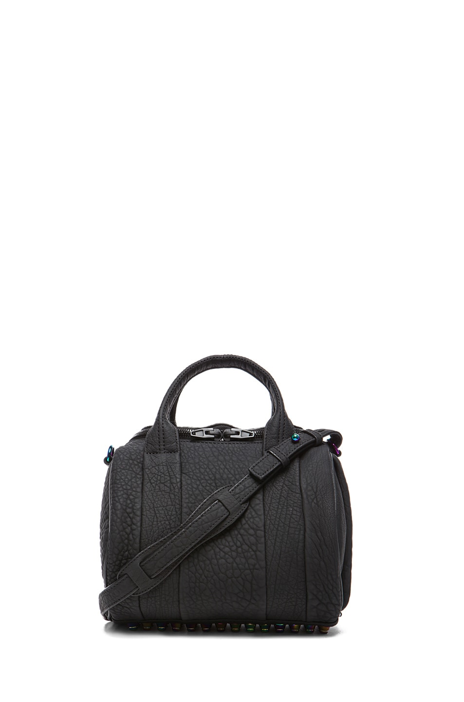 Image 1 of Alexander Wang Rockie Rubberized Pebble Lamb with Iridescent Hardware in Black