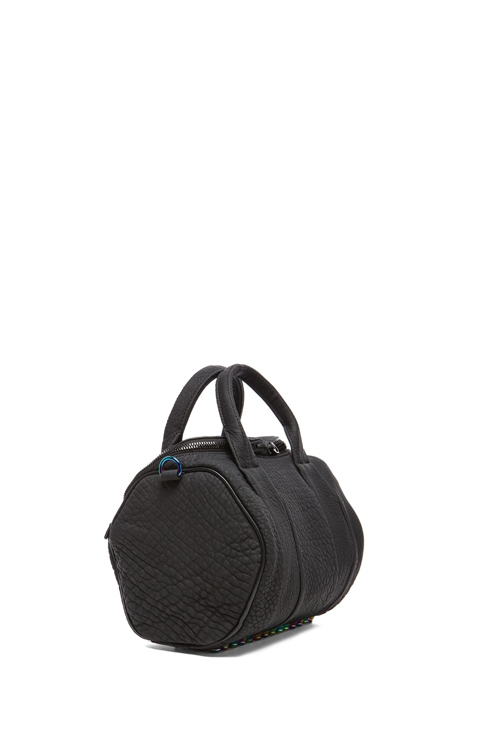 Image 3 of Alexander Wang Rockie Rubberized Pebble Lamb with Iridescent Hardware in Black