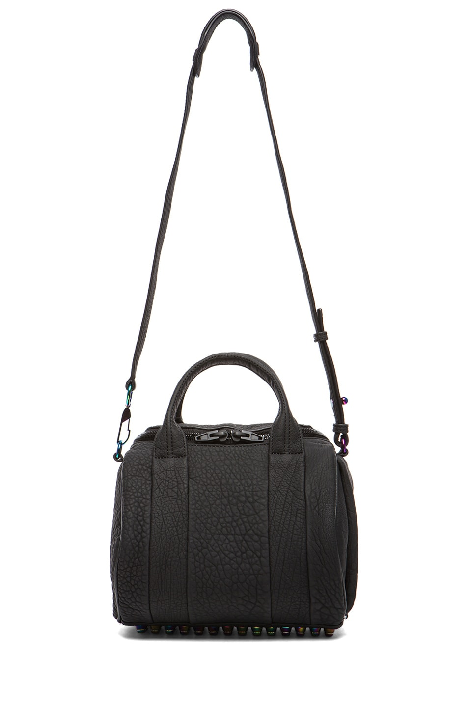 Image 5 of Alexander Wang Rockie Rubberized Pebble Lamb with Iridescent Hardware in Black