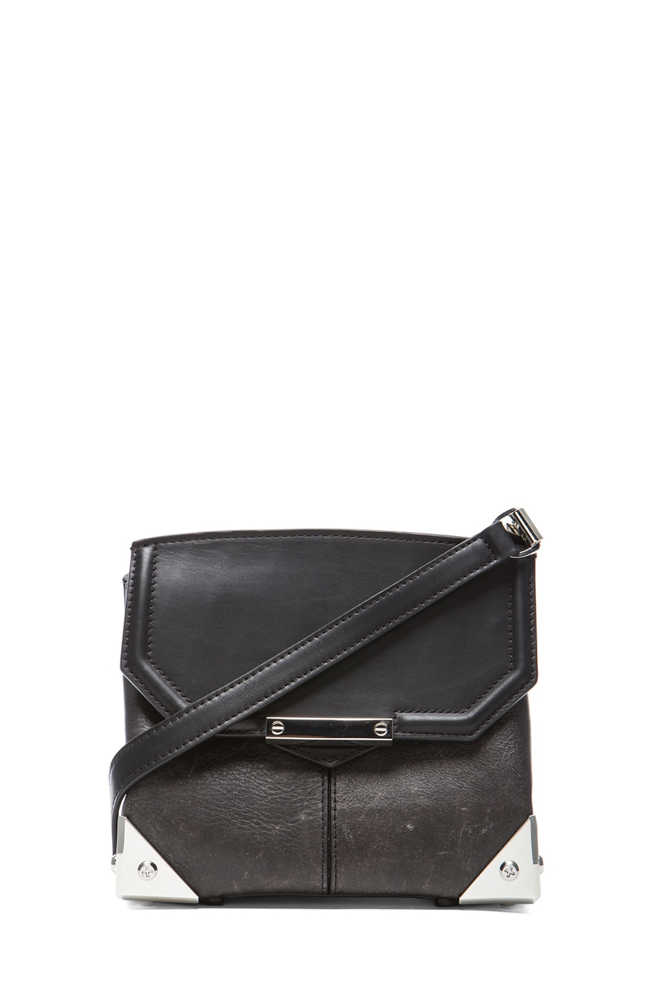 Image 1 of Alexander Wang Marion Distressed Bovine with Rhodium Hardware in Black