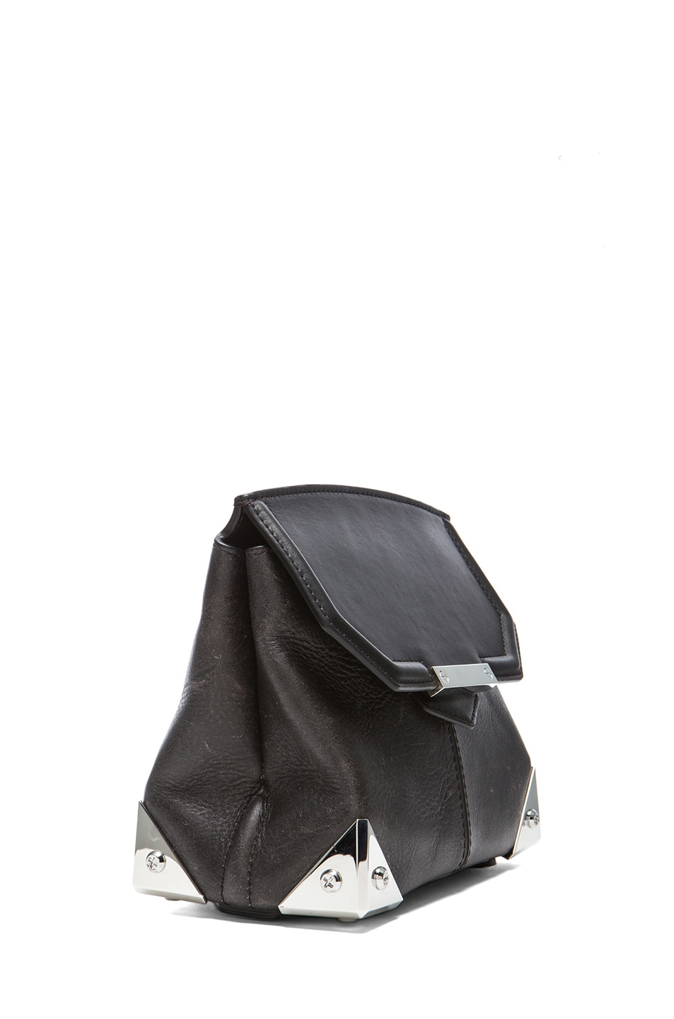 Image 3 of Alexander Wang Marion Distressed Bovine with Rhodium Hardware in Black