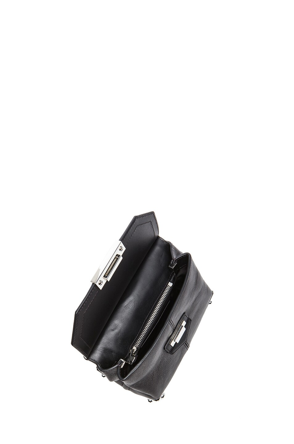 Image 4 of Alexander Wang Marion Distressed Bovine with Rhodium Hardware in Black