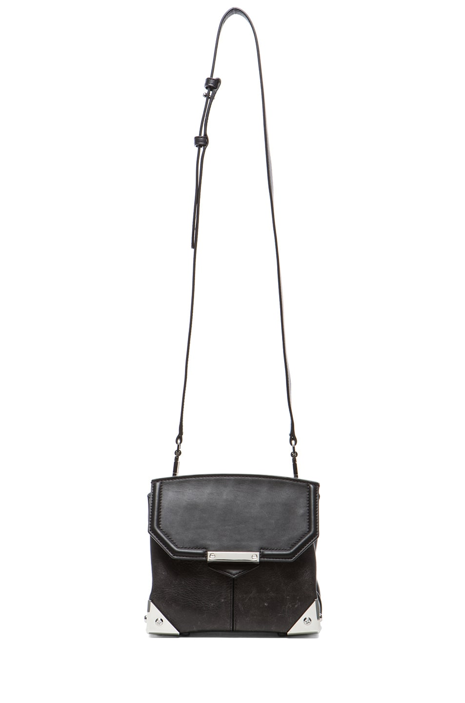 Image 5 of Alexander Wang Marion Distressed Bovine with Rhodium Hardware in Black