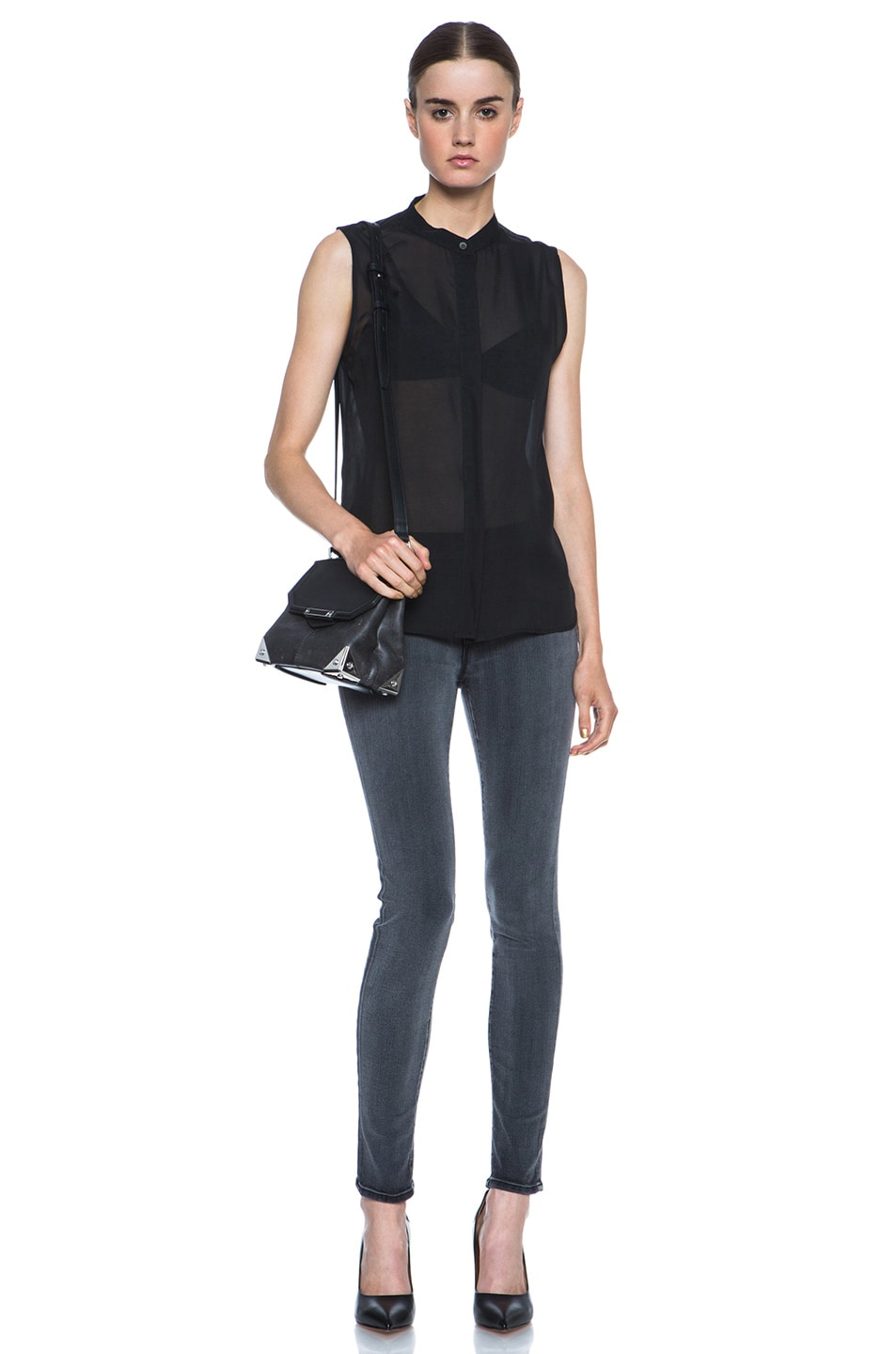 Image 6 of Alexander Wang Marion Distressed Bovine with Rhodium Hardware in Black