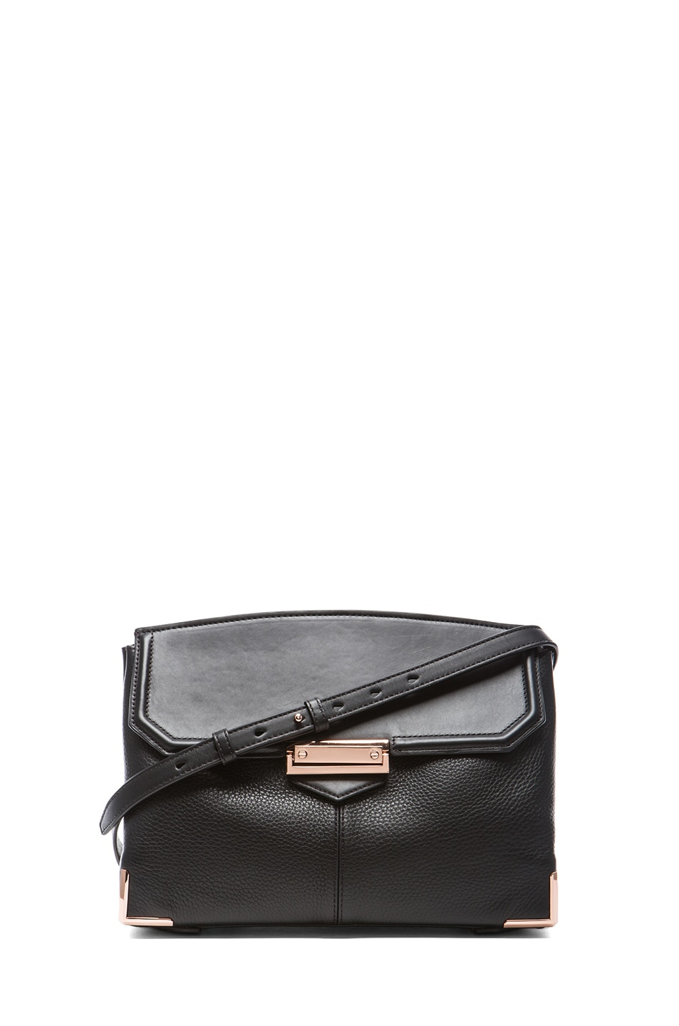 Image 1 of Alexander Wang Large Marion Soft Pebble Leather with Rose Gold Hardware in Black