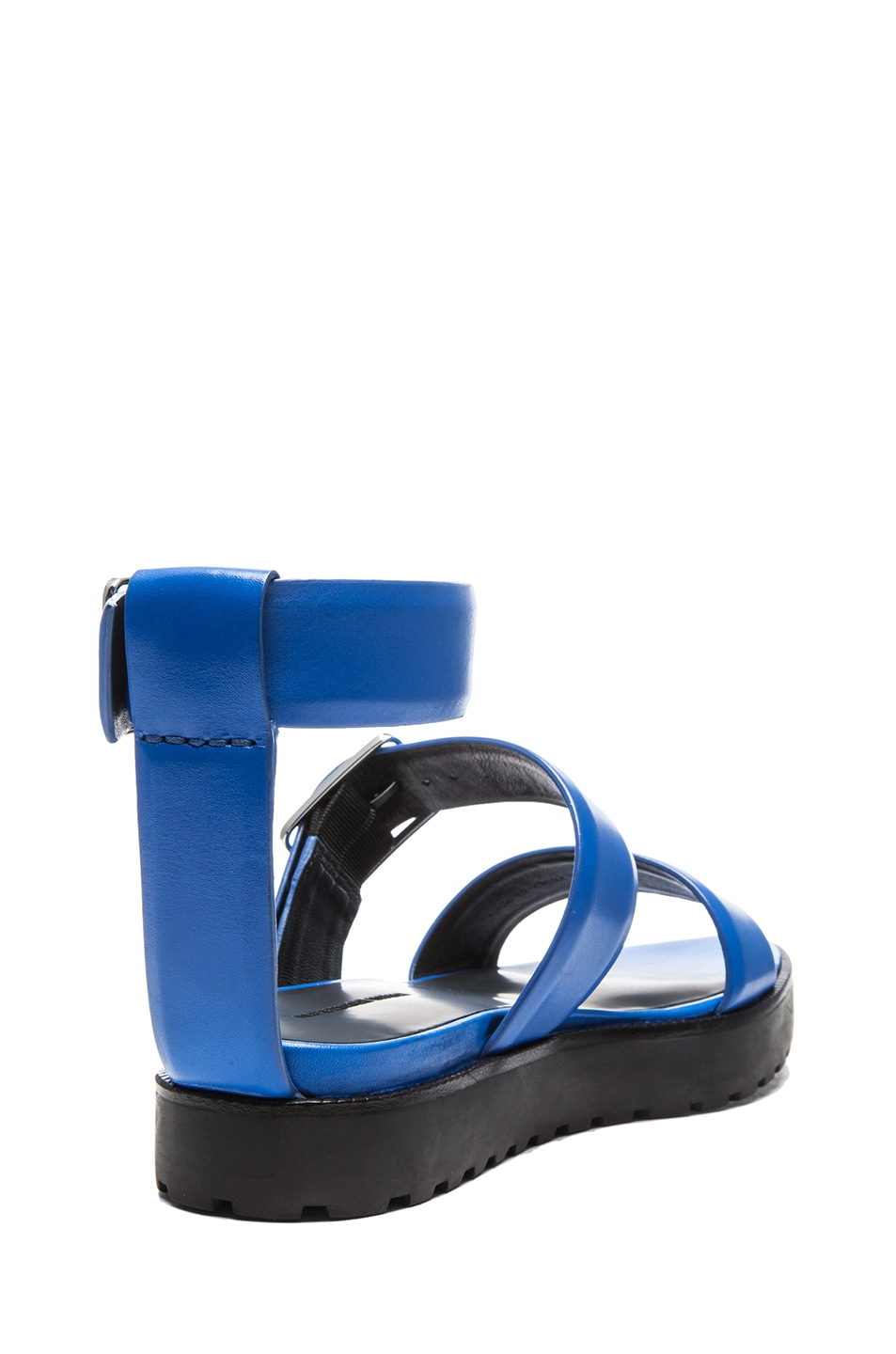 Image 3 of Alexander Wang Kira Leather Ankle Strap Sandals in Curacao